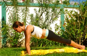 Bring the other foot back, finding yourself in plank. Use your glutes and your abs to support your low back. Don't allow your hips to drop.