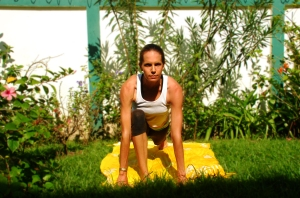 Inhale as you step the same foot you started with forward (you can then flow this into the Warrior poses).